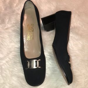 Salvatore ferragamo black block heels